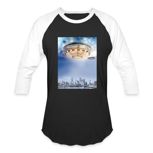 UFO Hoovering Earth - Baseball T-Shirt