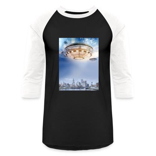 UFO Hoovering Earth - Baseball T-Shirt