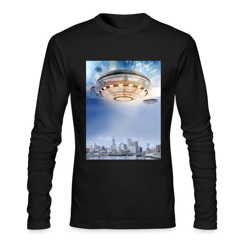 UFO Hoovering Earth - Men's Long Sleeve T-Shirt by Next Level
