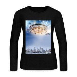 UFO Hoovering Earth - Women's Long Sleeve Jersey T-Shirt