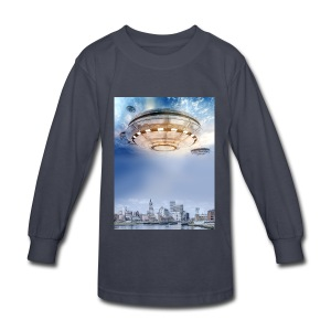 UFO Hoovering Earth - Kids' Long Sleeve T-Shirt