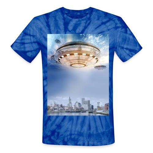 UFO Hoovering Earth - Unisex Tie Dye T-Shirt