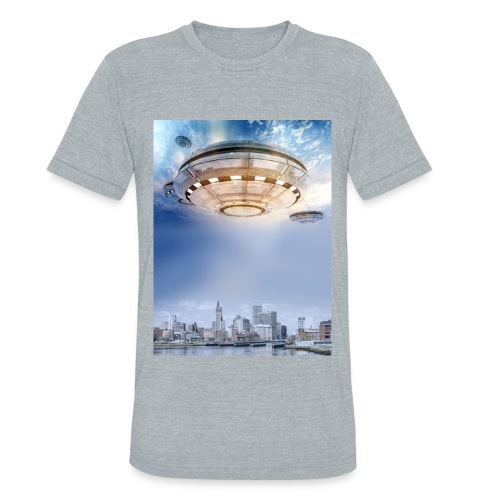 UFO Hoovering Earth - Unisex Tri-Blend T-Shirt by American Apparel