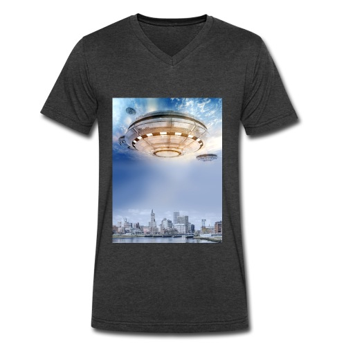 UFO Hoovering Earth - Men's V-Neck T-Shirt by Canvas