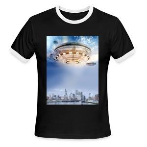 UFO Hoovering Earth - Men's Ringer T-Shirt