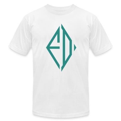 FD Green Diamond Slim Fitting White Tee - Men's Fine Jersey T-Shirt