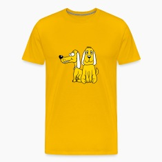2 sitting funny little sweet cute dogs couple team T-Shirts