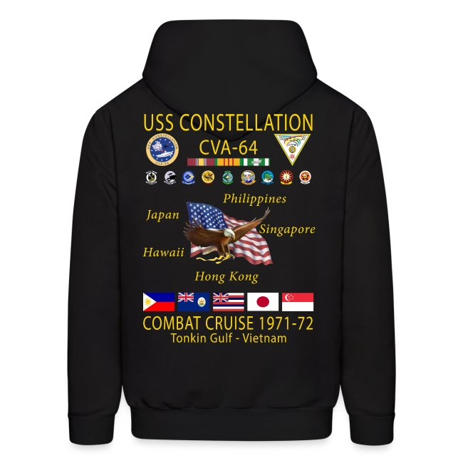 USS CONSTELLATION CVA-64 COMBAT CRUISE 1971-72 HOODIE