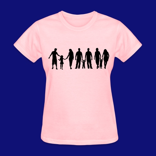 Gay and straight Parents KIDS  MARRIAGE silhouette  - Women's T-Shirt