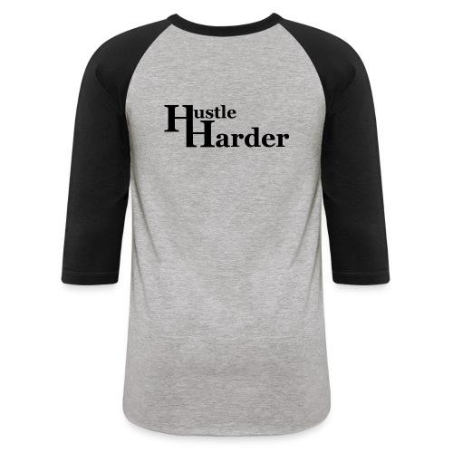 Hustle Harder 3/4 Sleeve T-Shirt (Back Logo) - Baseball T-Shirt