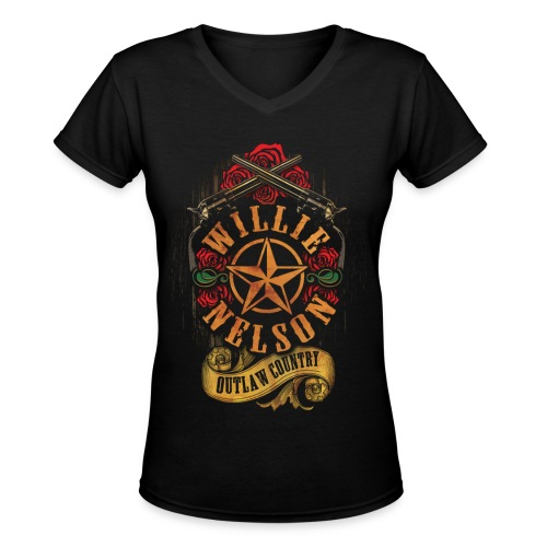 Willie Nelson Star Guns and Roses Womens - Women's V-Neck T-Shirt