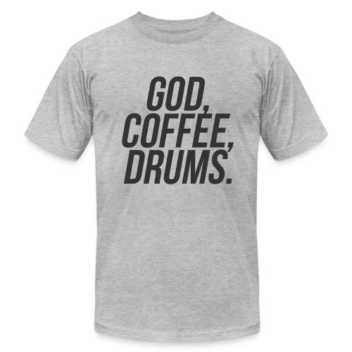 God Coffee Drums! The Worship Drummer T-shirt! - Men's Fine Jersey T-Shirt