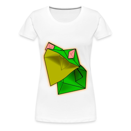 White Women's Origami Frog Tshirt - Women's Premium T-Shirt