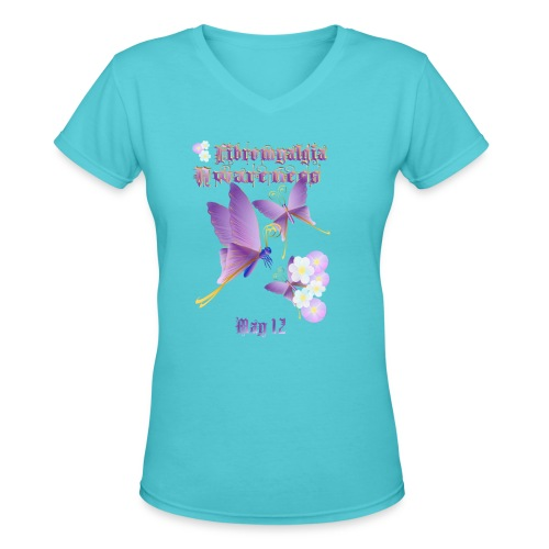 FIBROMYALGIA AWARENESS - Women's V-Neck T-Shirt