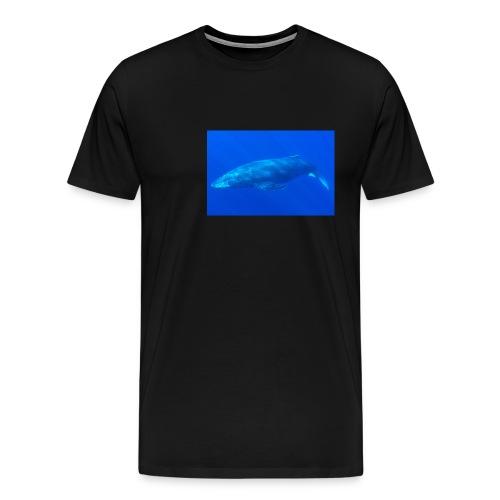 Men's Black t-shirt with Sperm Whale in Deep Ocean - Men's Premium T-Shirt