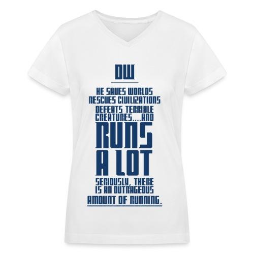 The Doctor Runs A Lot-Blue - Women's V-Neck T-Shirt
