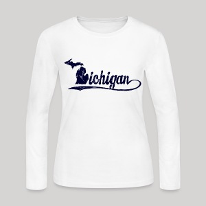 Script Michigan - Women's Long Sleeve Jersey T-Shirt