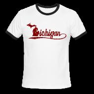 T-Shirts ~ Men's Ringer T-Shirt ~ Script Michigan