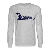 Long Sleeve Shirts ~ Men's Long Sleeve T-Shirt ~ Script Michigan