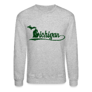 Long Sleeve Shirts ~ Crewneck Sweatshirt ~ Script Michigan