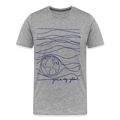 Men's - Interconnected Lines - navy on gray - Men's Premium T-Shirt