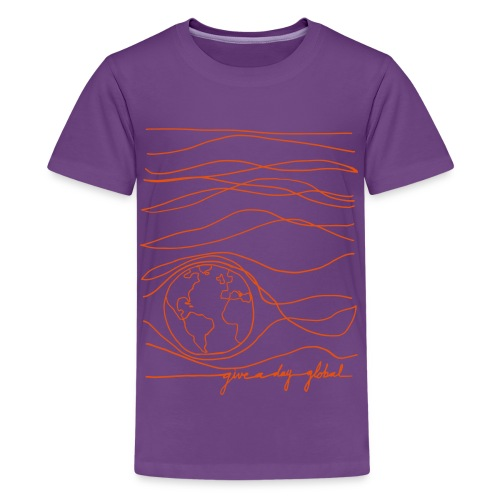 Kid's - Interconnected Lines - orange on purple - Kids' Premium T-Shirt