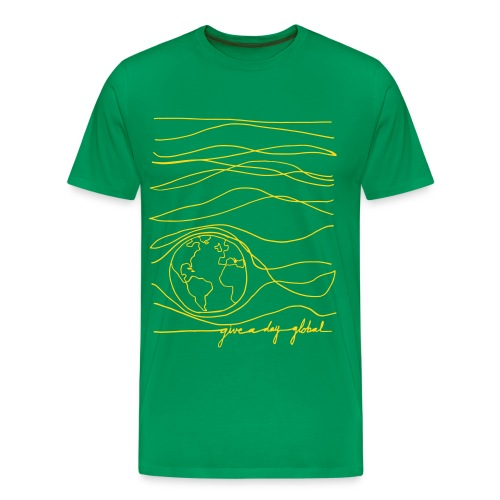 Men's - Interconnected Lines - gold on green - Men's Premium T-Shirt
