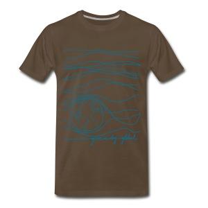 Men's - Interconnected Lines - teal on brown - Men's Premium T-Shirt