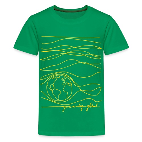 Kid's - Interconnected Lines - gold on green - Kids' Premium T-Shirt