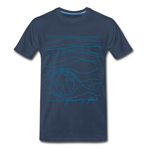 Men's - Interconnected Lines - teal on navy - Men's Premium T-Shirt