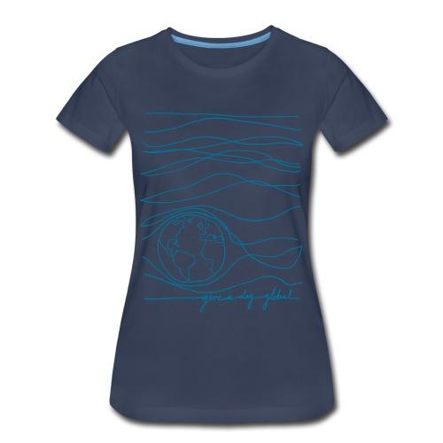 Women's - Interconnected Lines - teal on navy - Women's Premium T-Shirt