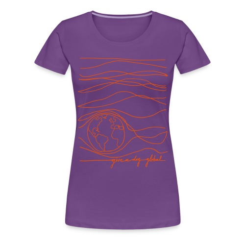 Women's - Interconnected Lines - orange on purple - Women's Premium T-Shirt