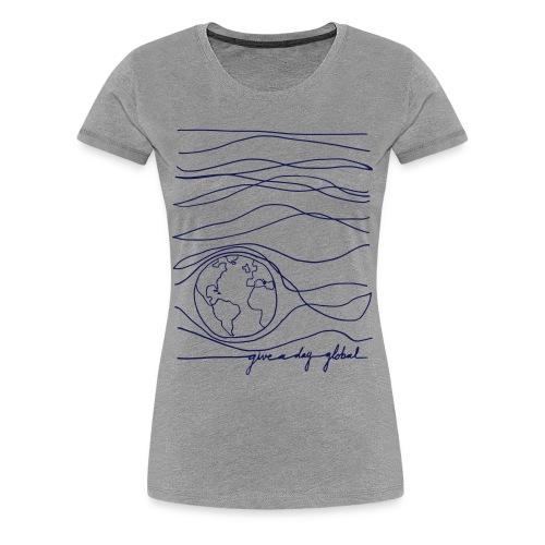 Women's - Interconnected Lines - navy on gray - Women's Premium T-Shirt