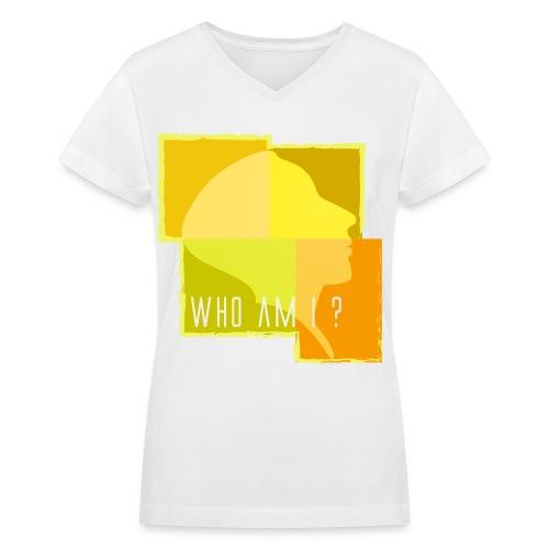 Who Am I - Yellow - Women's V-Neck T-Shirt