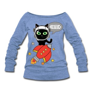 Space Cat - Houston we have a problem - Women's Wideneck Sweatshirt