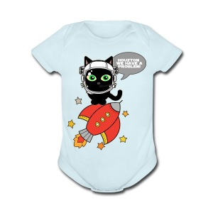 Space Cat - Houston we have a problem - Baby Short Sleeve One Piece