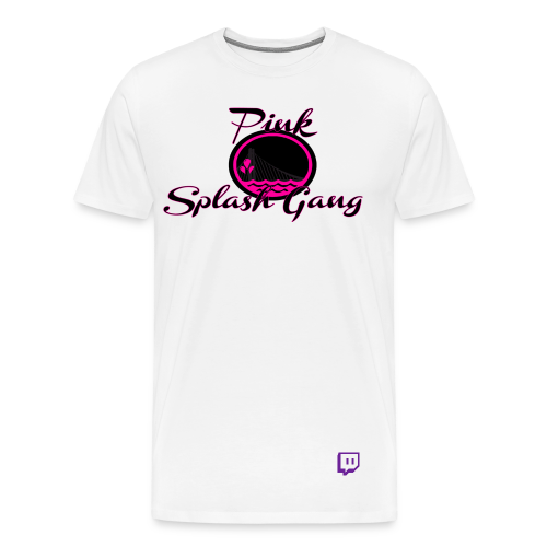 Pink Splash Gang Logo (White) - Men's Premium T-Shirt