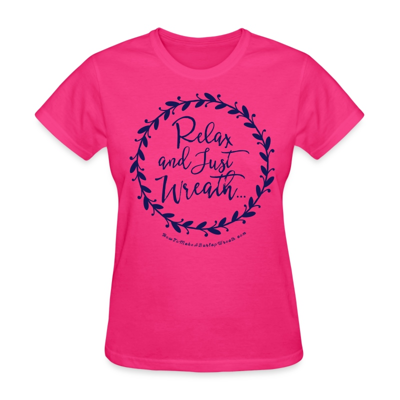 Relax and Just Wreath - Fuchsia and Navy T-shirt - Women's T-Shirt