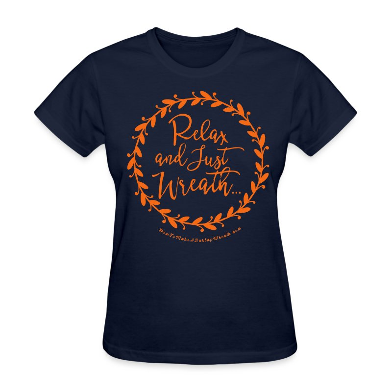 Relax and Just Wreath - Navy and Orange T-shirt - Women's T-Shirt