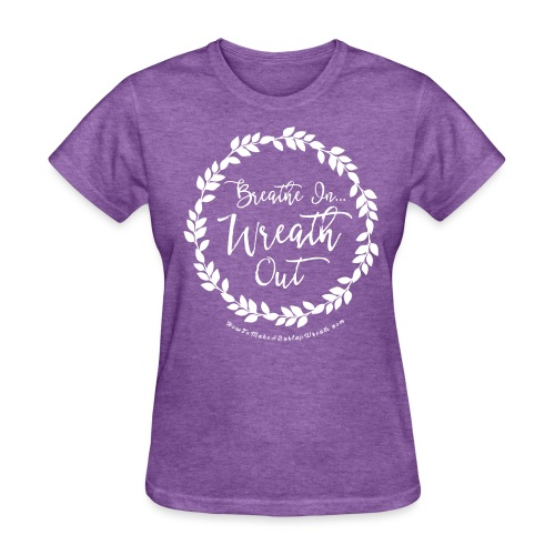 Breathe In Wreath Out - Dark Heather and White T-shirt - Women's T-Shirt