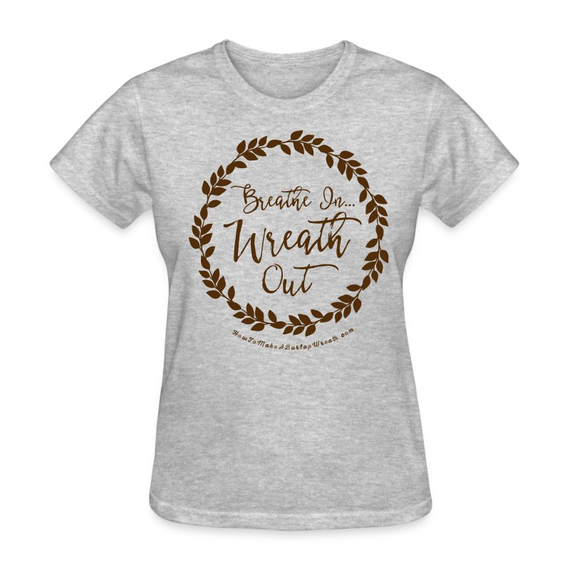 Breathe In Wreath Out - Light Heather and Chocolate T-shirt - Women's T-Shirt