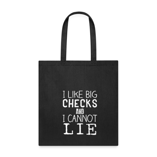 I Like Big Checks Tote bag-bag edge-Black - Tote Bag