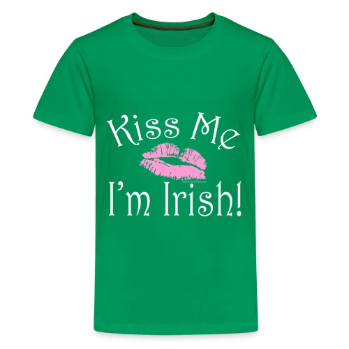 Kiss Me I'm Irish, Pink Lipstick St. Patrick's Day - Kids' Premium T-Shirt