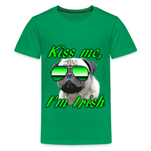 Kiss Me I'm Irish Pug Dog - Kids' Premium T-Shirt