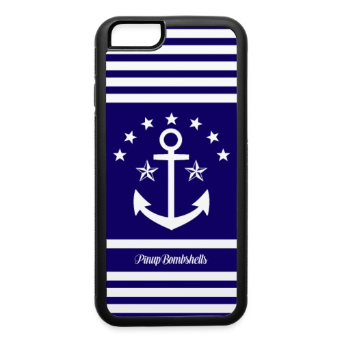 Anchor - Blue and White Stripes - iPhone 6/6s Rubber Case