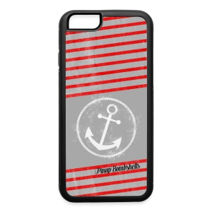 Anchor - Red and Gray Stripes - iPhone 6/6s Rubber Case