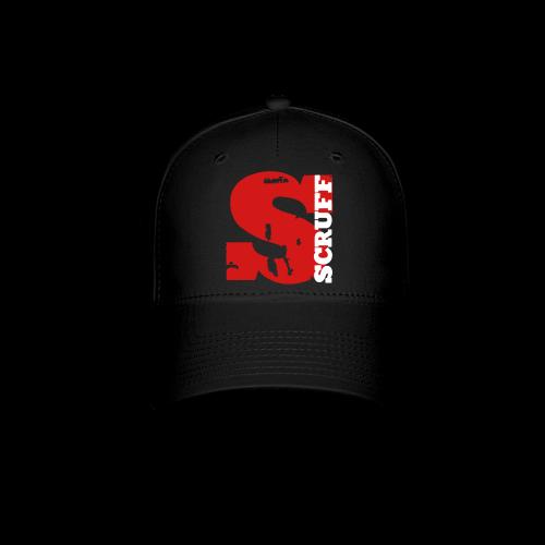 SCRUFF Baseball Cap - Black (red/white overlap logo) - Baseball Cap
