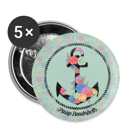 Anchor with Flowers Pin Badges - Small Buttons