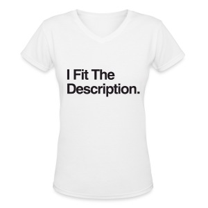 Ladies IFTD Black on White - Women's V-Neck T-Shirt