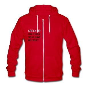 Speak Up - Unisex Fleece Zip Hoodie by American Apparel